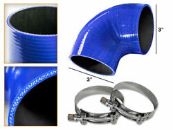 Blue Silicone 90 Degree Elbow Coupler Hose 3 76 Mm + T-bolt Clamps Bmw