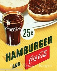 Coca Cola And Hamburger Advertising Poster Drug Store Grill Woolworth's 1940s-50s
