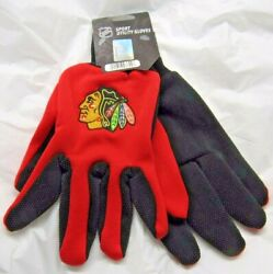 Nhl Chicago Blackhawks Colored Palm Utility Gloves By Foco Red W/ Black Palm