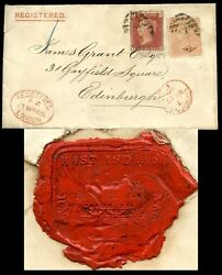 Gb Qv Registered 1866 To Scotland 1d Red + 4d...east Indian Railway Co Seal