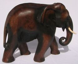 Fair Trade Hand Carved Thai Wooden Elephant Brand New 33cm Size