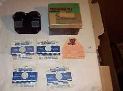 Sawyers Black Vintage Stereoscope Viewmaster 4 Slides Box Operating Instuctions