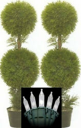 Two 3 foot Artificial Cedar Cypress Topiary Trees Potted Plants Christmas Lights