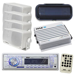 Pyle Marine Boat Yacht In Dash Am/fm Radio Stereo, 400w Amp, 4 Speakers, Cover