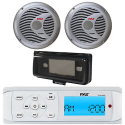 Pyle Plmr14bw Boat Radio Usb Receiver + 2 Silver 6.5 Speakers W/cover