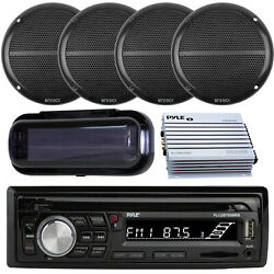 Pyle Marine Boat Sd Usb Stereo Bluetooth Receiver 4x 6.5 Speakers Amp Cover