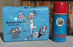 Vintage 1963 Rocky And Bullwinkle Vinyl Lunchbox And Thermos - Mega Rare