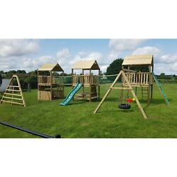 The Highlands - Triple 6ft Towers Rope Bridges Swings Slide Firemanand039s Pole