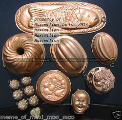 VINTAGE JAMES BEARD COPPER MOLD SET (AS FEAT.1979 BON APPETIT) 100% AUTHENTIC!