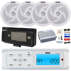 Pyle Plmr14bw Bluetooth Indash Receiver, 400w Amp W/ Wiring, 4x Speakers, Cover
