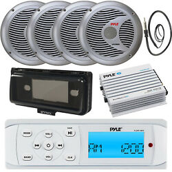 Pyle White Marine Stereo Am Fm Usb Receiver, 4x 6.5 Speakers, 4ch Amp, Cover