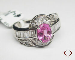 1.85 Ctw Pink Sapphire And Diamond Ring F Si 18k