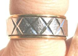 1940 Collectible 10k Gf And Sterling Silver Brushed 2 Tone Band Ring By Vargas