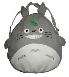 New My Neighbor TOTORO Grey Gray Round Canvas Backpack School Kids 20quot; Gift $39.95