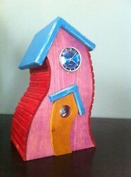 Handmade Stained Wooden Bird House Clock Temp Guage - Shabby Chic Funky Key West