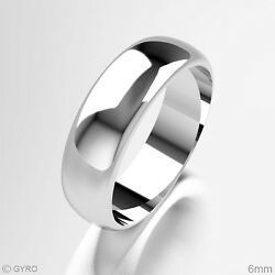 Brand New 18ct White Gold Premium Quality D Shaped Polished Wedding Band Ring