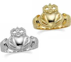 New Menand039s 10k 14k Or 18k Yellow Or White Gold Irish Claddagh Ring Band