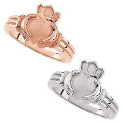 New Engravable Ladies 14k White Or Rose Gold Irish Celtic Claddagh Ring