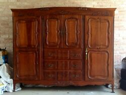 French Provincial Antique Styled Armoire Double Wardrobe And Cabinet Dresser