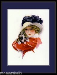 English Print Boston Terrier Puppy Dog dogs Lady Vintage Poster Picture Art