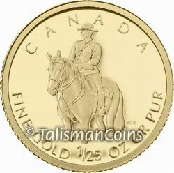 Canada 2010 Rcmp Mountie Royal Canadian Mounted Police 50 Cents 1/25 Oz Gold Prf