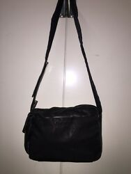 pre-owned authentic PRADA nylon and leather CROSSBODYMessenger b