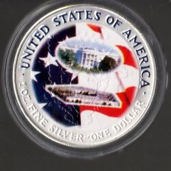 1 Ounce Silver Colorized Over Walking Liberty U.s. Of America Encapsulated