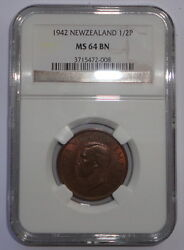 New Zealand Coin 1/2 Penny 1942 Ngc Ms 64 Bn