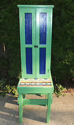 Vintage Industrial Table And Cabinet Painted Minton Tiles England Green Blue Look