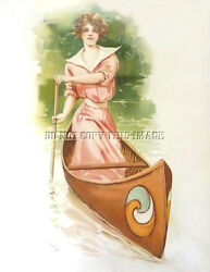 Antique Reproduction 8x10 Photographic Print 2 Beautiful Woman In Canoe