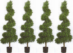 4 TOPIARY 6ft ARTIFICIAL BOXWOOD OUTDOOR UV TREE WIDE BUSH POOL 4 5 PATIO SPIRAL