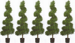 5 TOPIARY ARTIFICIAL 6' OUTDOOR BOXWOOD TREE WIDE UV SPIRAL BUSH POOL 4 5 PATIO