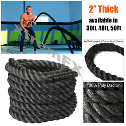 2 Battle Rope Poly Dacron Undulation Rope Exercise Fitness 30ft, 40ft, 50ft