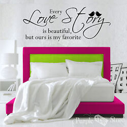 Love Story Vinyl Art Home Wall Birds Bedroom Room Quote Decal Sticker Decoration