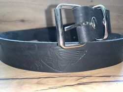 Black Confederate Eagle Press Studded Belt Hand Made Real Leather For Buckles H5