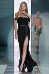 $12150 NEW VERSACE CHAIN EMBELLISHED LONG BLACK DRESS GOWN  40 - 4