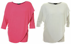 Grace Elements Pink Or White 3/4 Sleeve Cross Front Shirt Nwt F/s Plus Size