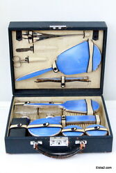Antique Sterling English Vanity Set With Blue Guilloche Enamel By Clifford Bros.