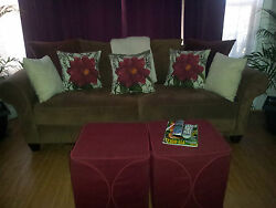Sofa Set With Arm Chairs, Throw Pillows And Foot Stools