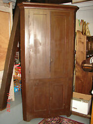 Antique One Piece Blind Corner Cupboard With Grained Finish - Lehigh County Pa