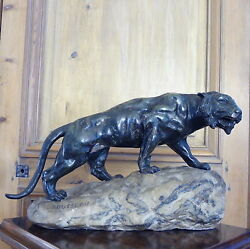 Bronze Lion Signed Rousseau In The Style Of Thomas  French Sculpture