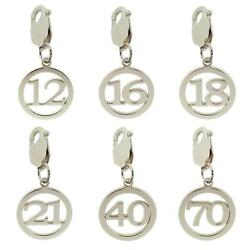 925 Sterling Silver Birthday Number Age Clip On Charm Pendant Gift 10-70