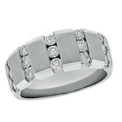1.02ctw Channel Set Diamond Brushed Center Beveled Edge Mens Band In 18k W Gold