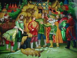 Russian Lacquer Box Hand Painted Castle King Horse Treasures Story Signed