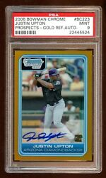 Psa 9 Justin Upton 2006 Bowman Chrome Rc Auto /50 Gold Refractor Angels Star Rc