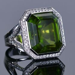 Rare 43.81 carat Peridot and Halo Pave Diamond Right Hand Ring in 18k White Gold
