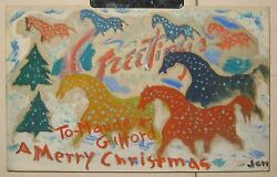 Vintage Modernist Horses And Christmas Trees Painted Card To Maude And Gifford Beal