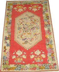 Antique Happy Turkish Ghiordes Oushak Ushak Rug Size 3and0399and039and039x6and0392and039and039