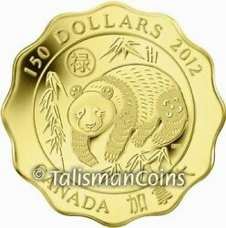 Canada 2012 Blessings Good Fortune Giant Panda 150 .99999 Pure Gold Lotus Proof