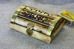 Antique Middle East Carved Camel Bone And Brass Jewelry Trinket Box 4.3and039and039 - 4